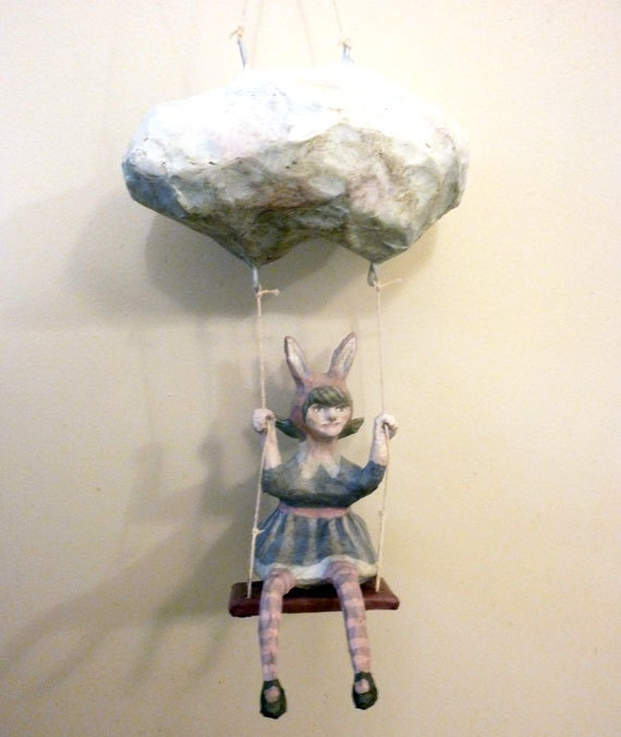 Pretty Bunny Dreamer Girl, Paper Mache, Art Doll, Swinging from a Cloud Decor, Gray, Pink
