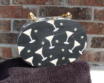 Wooden Oval Martini Purse