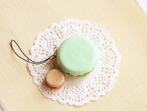 Macaron Keychain - Macaron Phone Charm Bag Charm - Pistachio and Hazelnut Chocolate Macaron - Wedding Favors