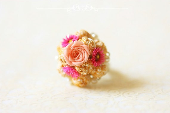 Miniature Food Ring - Profiteroles Ring - Dessert Ring - Gift for Her