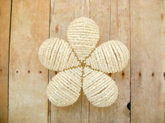 Hair Clip or Brooch Pin White Beaded Flower -  Snow Belle - Ododo Originals