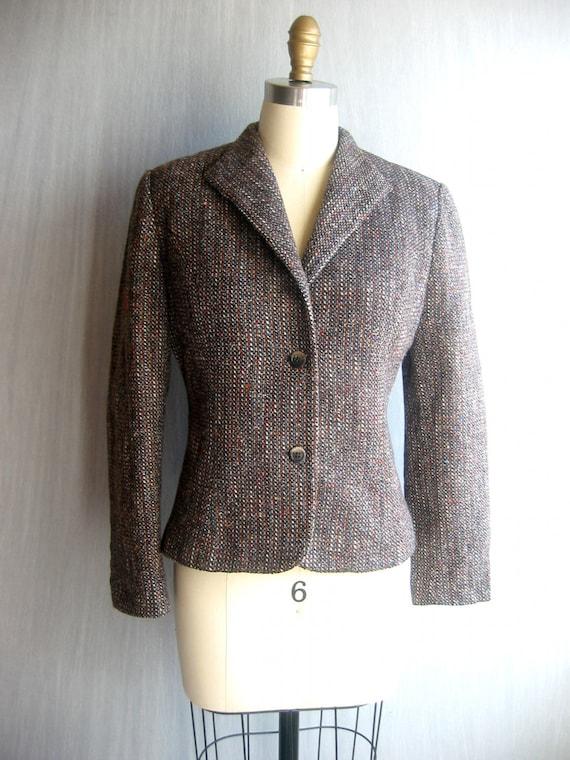 tapered blazer / brown tweed / s-m