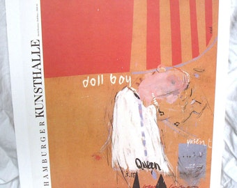 Cliff Richard Rock Star Portrait Art Print - DOLL BOY - 1960s Musician - Hamburg Germany Exhibit Ad Poster Book Plate - Red Orange - Hockney