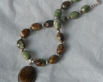 Green Brown Gemstone Necklace - Bronzite Sterling Pendant- Faceted Oval Beads - 925 Silver Clasp- Earthy Color African Turquoise Jasper Gems