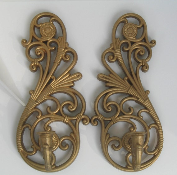 Pair Plastic Wall Sconce Candles 2 Gold Vintage Hollywood REGENCY or COTTAGE CHIC