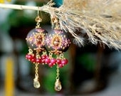 Imperial yellow topaz , Deep Pink Jade with clay floral detail and crystal  - Bali 24k vermeil earrings  - Dancing with the Forsythias