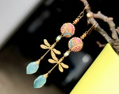 Peruvian Opal Chalcedony jewelry, Amazonite,golden pearl, clay floral on Vintage brass filigree dragonfly gold earrings - The DragonFly Gal