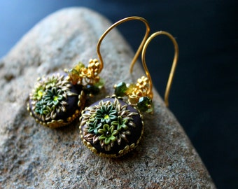 Peridot and Petro Tourmaline Gold Earrings - Floral Clay Details and crystals in Brass Bezel and 24k Bali vermeil - Mossy Woods