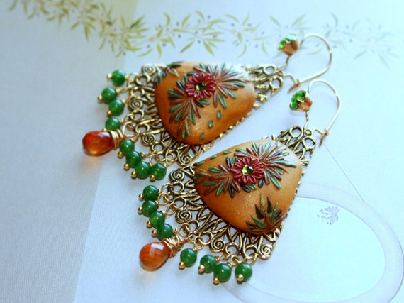 Glowing Honey hessonite, Green Jade and vintage swarowski earwires in vermeil gold earrings with clay details - A Wedding by the Ganges