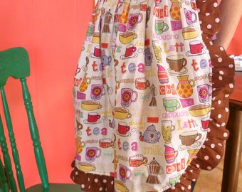Tea Party Coffee Time Apron Half Apron w Ruffles and Polka Dots