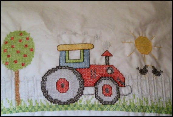 Hand Embroidered Tommy Tractor Pillowcase