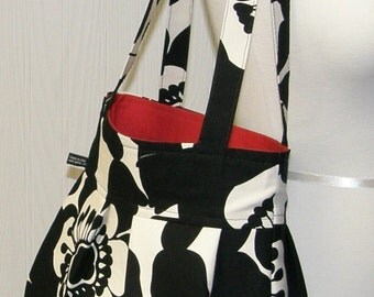 The Chloe Bag-Sofia Mod Floral-Alexander Henry-Black and White Flowers-RedLining- Pleated Hobo Handbag