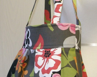 The CHLOE Bag-MOD Spring CLARISE Floral-Gray Black Pink-Spring Flowers-Pleated Hobo Handbag Purse