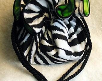 Zebra print with green Jewelry Pouch
