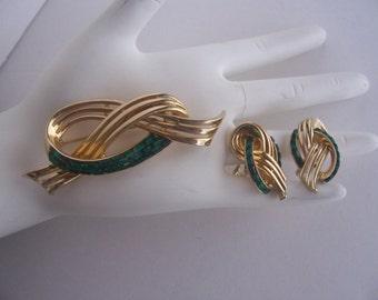 Vintage Rhinestone Brooch and Earrings Demi Parure Set  Signed COROCRAFT / CORO