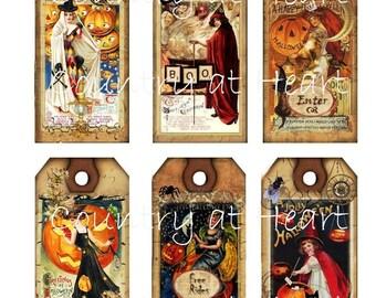 Instant Download - Vintage halloween - Hang Tags -  Digital Download - Printable  Digital Collage Sheet