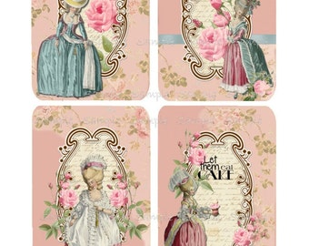 INSTANT DOWNLOAD - Marie Antoinette No. 2-  Digital Download - Printable  Digital Collage Sheet
