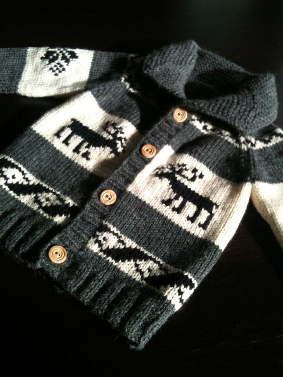 Childrens' Sweater, Custom Pure Wool, Cowichan Style, Deer, 6-12 months, 2 years