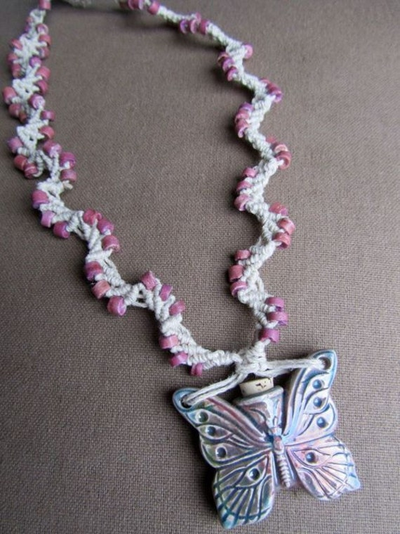 Hemp Macrame Butterfly Bottle Necklace - Natural Boho Hippie Woodland