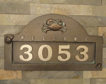 Nautical Crab House Numbers Coastal Address Plaque Large