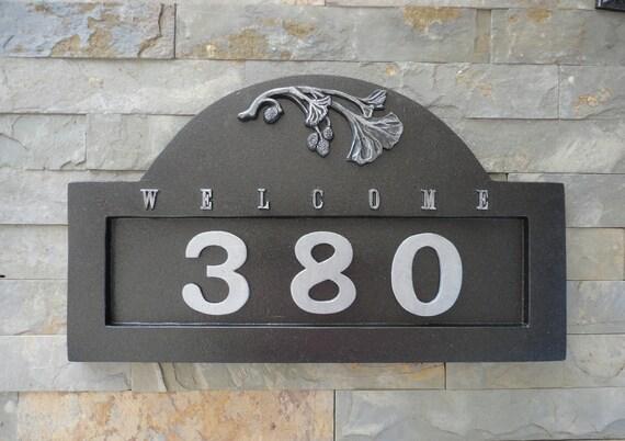 craftsman ginkgo address plaque arts and crafts house numbers. Black Bedroom Furniture Sets. Home Design Ideas