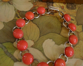 Chain Link Silvertone Bracelet with Round Glass Coral Orange Color Cabochon