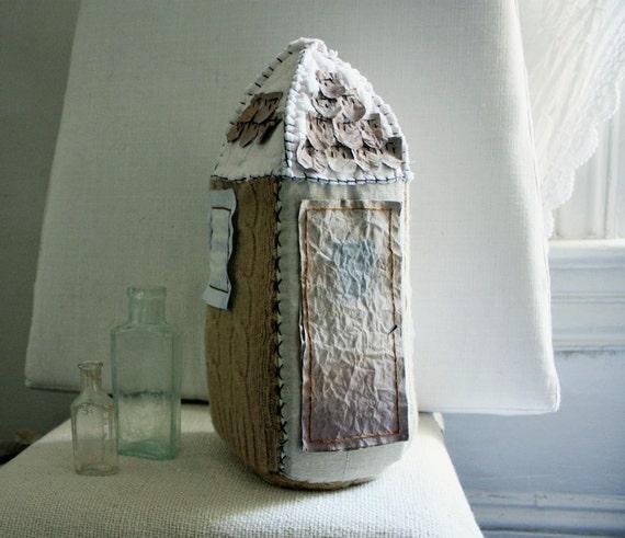 maison haute et étroite. soft sculpture house - textile and paper  ready to ship.