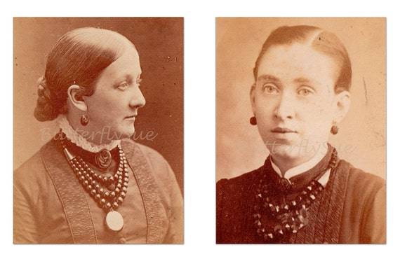 RESERVED For Norman CDV Victorian Ladies Wearing Jet Jewelry -  ( lot 2)