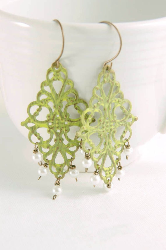 Chandelier Earrings Brass Filigree Sage Green, Bohemian Princess Jewelry Accessories Gifts for Her Under 20