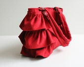 LAST ONE - Flamenco in Carmine Red / Canvas Ruffles Bag / High Fashion / Shoulder Bag / Zipper Closure /Large /Deep Red / ruby /cherry