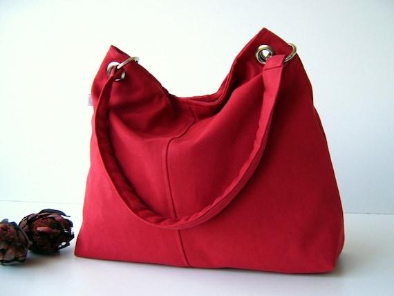 Last ONE - Classy Hobo Bag in Carmine Red - with top ZIPPER CLOSURE -- Large - Diaper Bag - Shoulder Bag