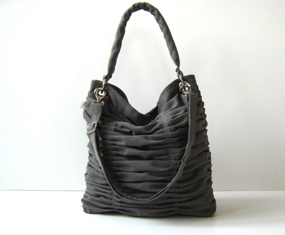 LAST ONE, Poetry in Grey / Gray / Pleated Bag / Shoulder Bag / Diaper Bag / Large / Ruffles Bag /  Cross Your Body / Choose your Color