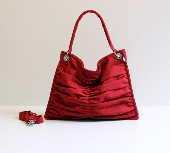 Last One Bags, Euphoria in Carmine Red, Diaper Bag, Outside Pockets, Pleated Canvas Bag, Travel Bag, Large, Tote Bag, Cross Body Bag, ruby