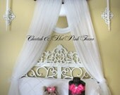 BED Canopy CROWN Princess Cheetah Hot pink SaLe Silver Monogrammed Upholstered