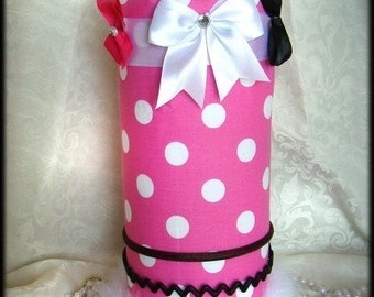 Headband Hair bow Organizer Jewelry Princess Pink with white polka dot