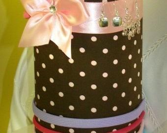 Jewelry Headband holder Hair bow Brown with Pink polka dots Princess SaLe