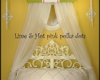 FrEe Embroidered BeD Teester Canopy Crown Princess Lime green Hot pink PoLkA DoTs Personalized Monogram SaLe