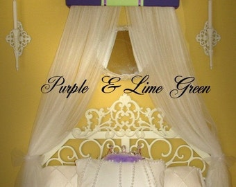 Embroidered Personalized Bed Canopy Crown SaLe Purple Lime Green Princess