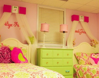 Sisters Twins Bed Canopy Crown Princess Matching FrEe Embroidered Personalized Monogram Hot Pink Lime GreenSaLe