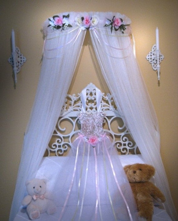 BED Canopy PRINCESS Naomi Pink Ivory Cream Girls by SoZoeyBoutique