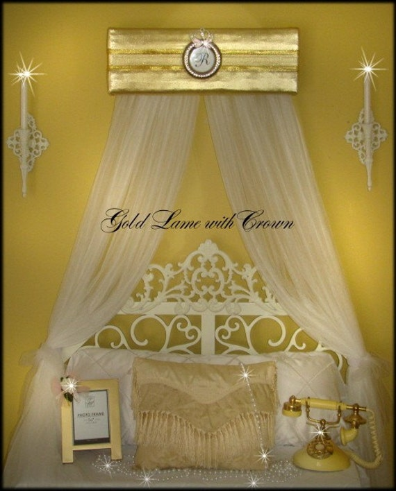 Bed Canopy Crown Tiara Drapes Princess Gold Lame Initial Upholstered  SaLe