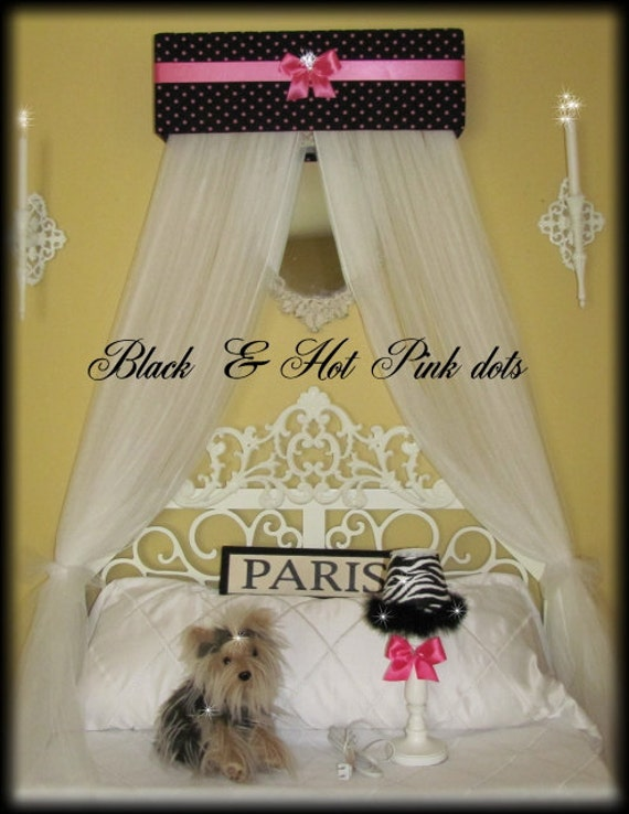 Padded Bed Canopy Crown tiara SaLe Princess Personalized Black Hot Pink Polka dots