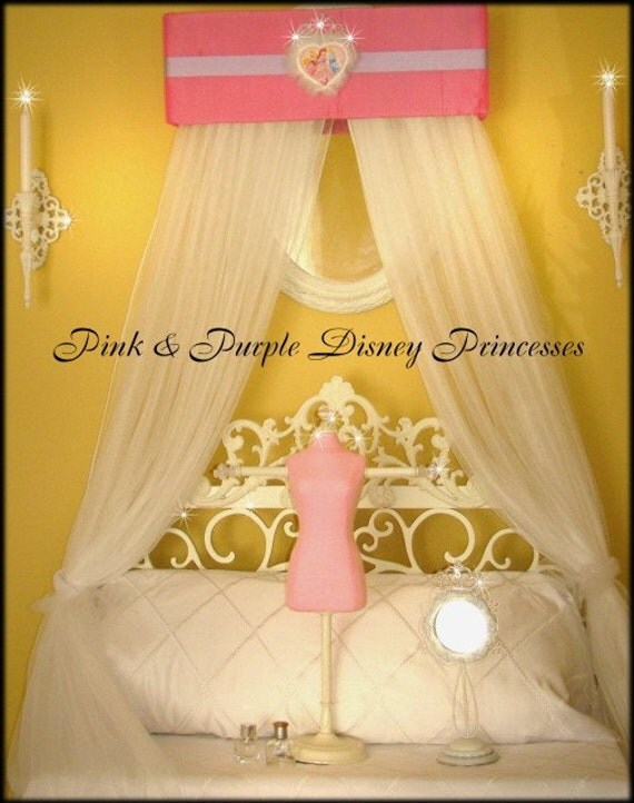 DiSnEy Princess Crown Bed Canopy Padded Upholstered SaLe Pink Purple