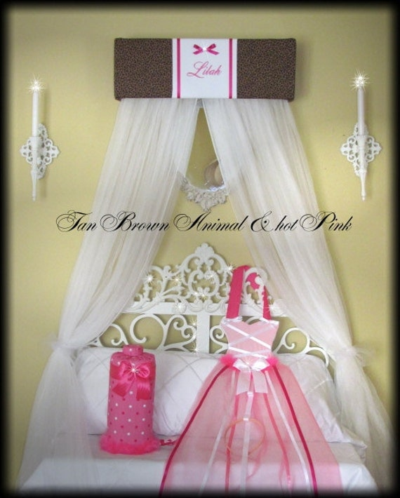 Canopy Crown Embroidered Crib Bedroom Decor SaLe HOT Pink Animal Print Cheetah
