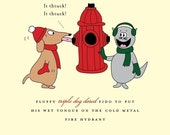 Wet Dog Tongue on Fire Hydrant Holiday Card set of 6 by She's SO Creative (HC139-s6)