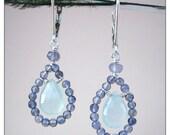 beaded teardrop earrings, chalcedony iolite sterling silver, beaded gemstone briolette drop earrings, mint green and blue stone drops SALE