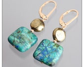 one of a kind stone earrings modern southwestern jewelry aqua blue metallic gold gift under 50 bold jewelry blue stone dangle earrings
