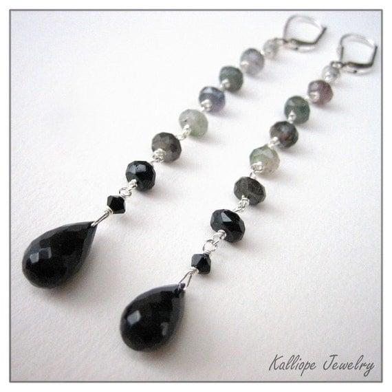 long drop earrings tourmaline black chalcedony gemstone earrings elegant jewelry New Years Eve long drops stone earrings black and gray SALE