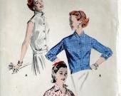 Vintage 1950s Blouse Pattern Butterick 7589 Bust 30