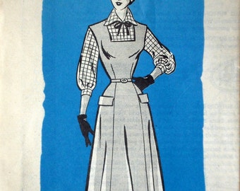 Vintage 1950s Dress & Blouse Pattern Mail Order American Weekly 3853 Bust 32